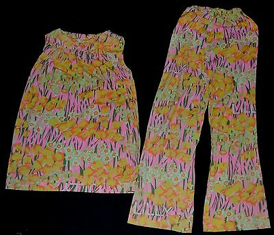 VINTAGE 60'THE LILLY PULITZER 2pc Tunic Top Pants set Pink Yellow green