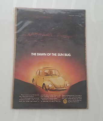 1974 VOLKSWAGEN BEETLE Car - The Dawn Of The Sun Bug - VW - VINTAGE AD