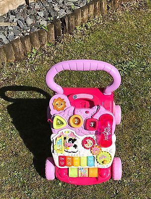 vtech first steps baby walker in pink with shapes, sounds and phone