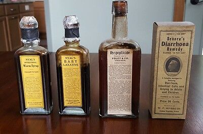 Lot of 4 antique pharmacy Patent Medicine bottles cures early 1900s 1 SEALED!