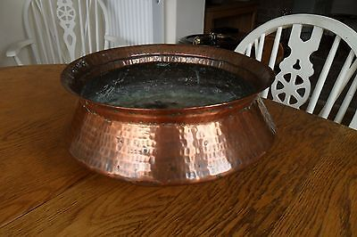 Large Arts & Crafts Hand Beaten Copper Bowl - Newlyn style. Good condition.