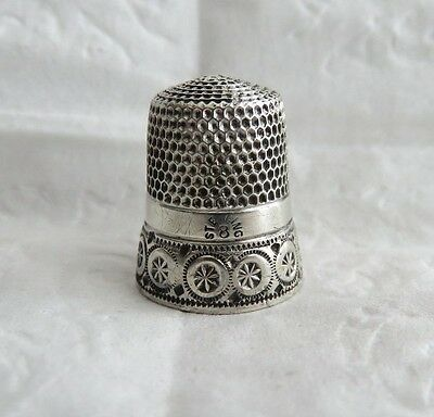 Antique Simons Sterling Silver Thimble Size 8 Pinwheel Band