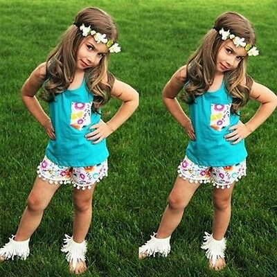 US Stock 4-5T 2PCS Toddler Kids Baby Girl Tops T-shirt Shorts Outfits Clothes 05