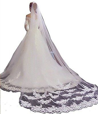 Bride Ivory Tulle Lace Edge Cathedral Length Wedding Bridal Veil With Comb
