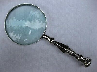 Nice Quality Antique Vintage Style Silver Plate Large Desk Top Magnifying Glass