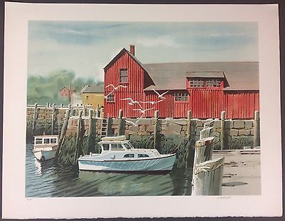 Joseph Correale Limited Edition Signed Lithograph 26/300, Harbor Scene
