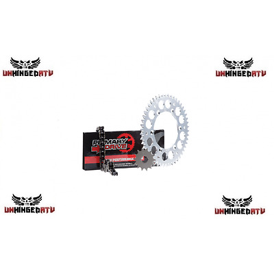 Primary Drive Alloy Kit & X-Ring Chain Silver Rear Sprocket – Fits: KTM 690 ENDU