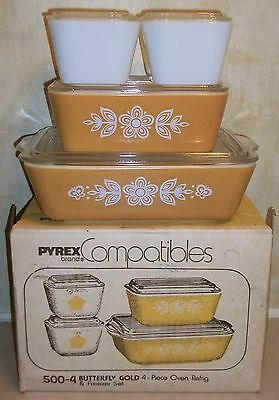Vintage PYREX BUTTERFLY GOLD 8 PC. REFRIGERATOR SET In Orig Box