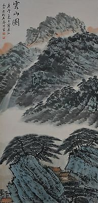 Vintage Chinese Watercolor Landscape Wall Hanging Scroll Painting with Seal Mark