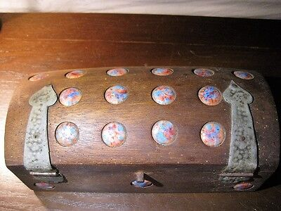 Arts & Crafts Mission Style Inlaid Baubles Wooden Box Rare