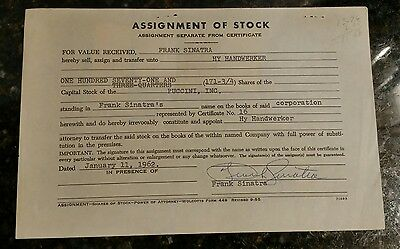 Puccini, Inc Assignment of Stock from Frank Sinatra Signed by Frank Sinatra RARE