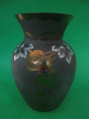 Fenton Leaves of Gold Sand Carved & White Flower Plum Glass Vase Limited Edition