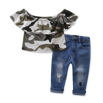 New Toddler Kids Girls Off shoulder Camo Tops Jeans Pants Clothes Outfits Set 4T