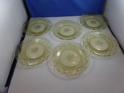 "Depression Glass Federal Glass Co. Rosemary or Dutch Rose 6 3/4"" plates ~ Amber"