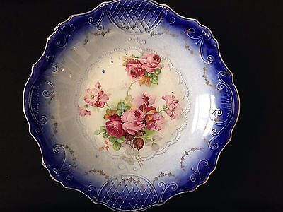 """Flow Blue Decorative Plate 10"""" with rose pattern transfers"""