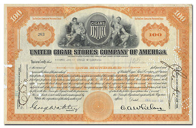 United Cigar Stores Company of America Stock Certificate