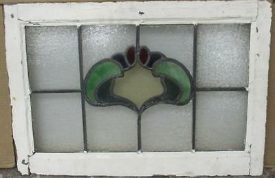 "MID SIZED OLD ENGLISH LEADED STAINED GLASS WINDOW Beautiful Abstract 24"" x 16.5"""