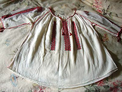 Vintage Girls' Hand Embroidered Traditional Romanian Peasant Blouse