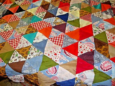 Large  Vintage Cotton Handmade Triangle Quilt Top