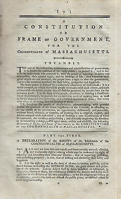 18Th Century Printing Constitution Of Massachusetts Bill Of Rights 1789 Great