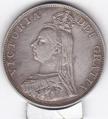Sharp  1887   Large  Double  Florin  (4/-)  Silver (92.5%)  Coin