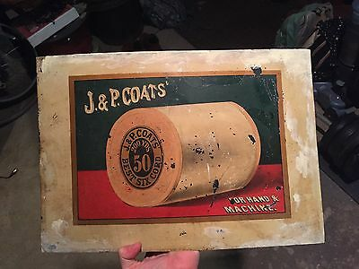 Vintage J&P Coats For Hand And Machine Sign Spool Cabinet Inlay Best Six Cord