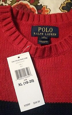 NWT Boys Polo Ralph Lauren Sweater. Size XL (18-20) Red and Navy