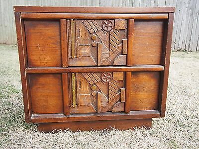 PAIR BRUTALIST MID CENTURY NIGHTSTANDS end tables sculptural figural Evans style