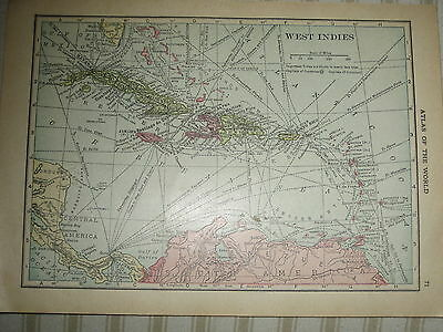 1916 Vintage  MAP WEST INDIES / MEXICO      FREE SHIPPING