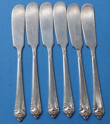 6 Wm A Rogers Oneida STARLIGHT individual butter knives spreaders VA