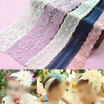 Strentch Elastic Edging Lace Trim Embroidered Ribbon Sewing Applique Cloth Craft