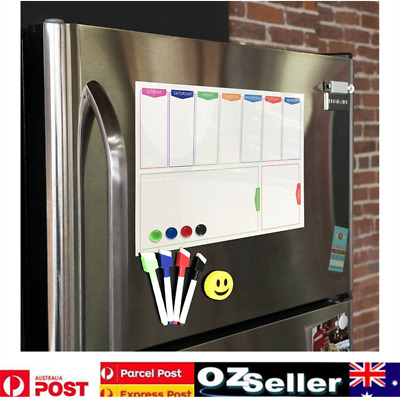 New A3 Magnetic Fridge Whiteboard Weekly Planner Dry Erase Board + 2 Pens