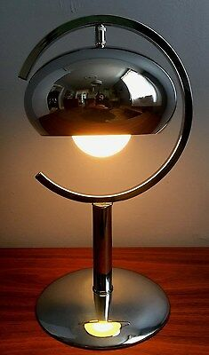 NICE Vtg 1960s/70s Mid Century MODERN Chrome SPACE AGE Sputnik ATOMIC Table LAMP