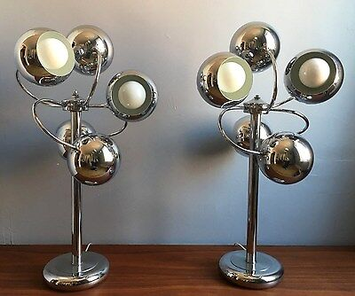 SUPERB Vtg Sonneman? 60s/70s Mcm Chrome SPACE AGE Sputnik Retro ATOMIC Lamp 2/2