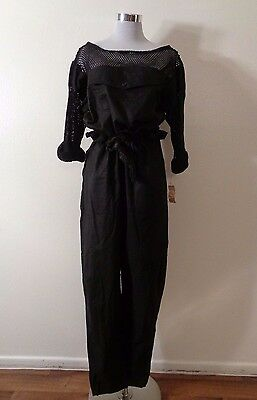 70s FOXY LADY FOXMOOR DISCO MOD BLACK COTTON FISHNET SLEEVES & TOP JUMPSUIT NWT