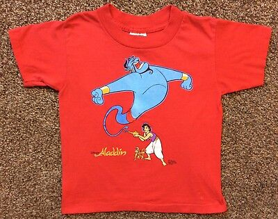 Vtg Early 90s Disney's Aladdin T-Shirt Red Youth 7 Animated Film Movie
