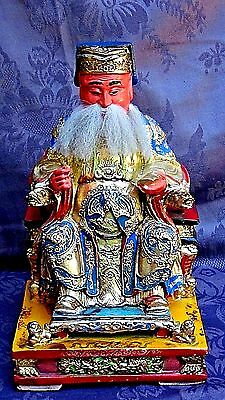 Antique Chinese Wood Lacquered Gilt Carved Emperor Statue On Dragon Thron