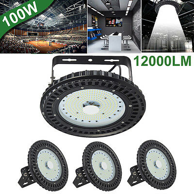 4X 100W UFO LED High Bay Light Factory Warehouse Shed Industrial Lighting 6500K