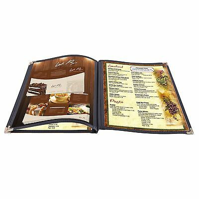 30pc 8.5x14 Menu Cover Trifold 6 View 3 Page Restaurant Cafe Book Clear Black