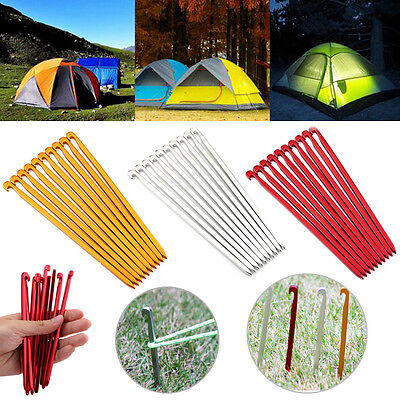 10Pcs Hiking Camping Aluminum Alloy Anti-rust Canopy Tent Pegs Nails Stakes WY