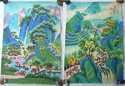 Vintage Colourful Hand painted Chinese Posters depicting Rural Scenes C1993