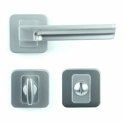 Bathroom WC Door Handle Set - Lever on Rose - Matt Chrome Finish ZA5