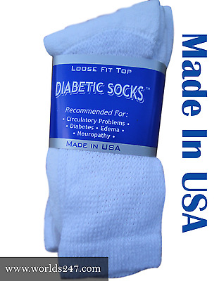 White Crew Diabetic Socks 3, 6,12 Pair Size 9-11,10-13 & 13-15 Made In Usa