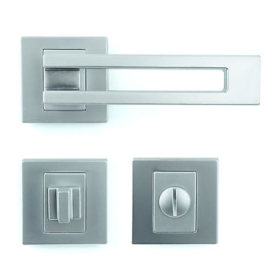Bathroom WC Door Handle Set - Lever on Rose - Gloss Chrome Finish ZA6