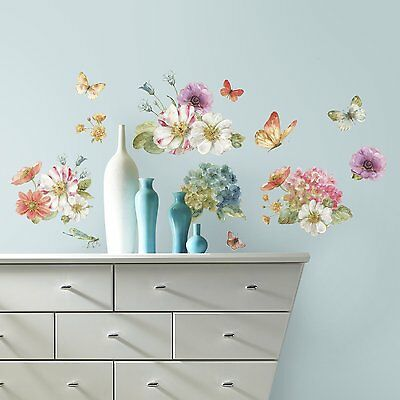Lisa Audit GARDEN BOUQUET WATERCOLOR WALL DECALS 20 Floral Stickers Flower Decor