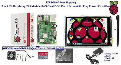 "7 in 1 Kit Raspberry Pi 3 Module+16G Card+3.5"" Touch Screen+US Plug Power+Case"