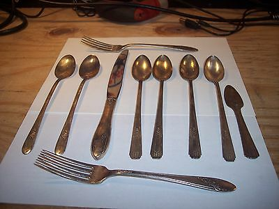 Silver flatware (10) misc items