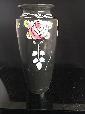 Antique Shelley Roself design Black + Pink Roses Vase c1918 Art Nouveau