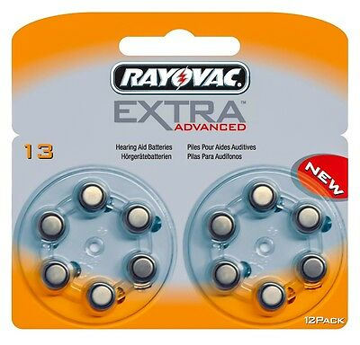 Rayovac Extra Advanced Hearing Aid Batteries Size 13 (Orange Tab) x 12 Cells