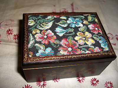 Lovely Vtg Japan Wood Musical Trinket Box Wi Tapestry Top Plays Edelweiss Music